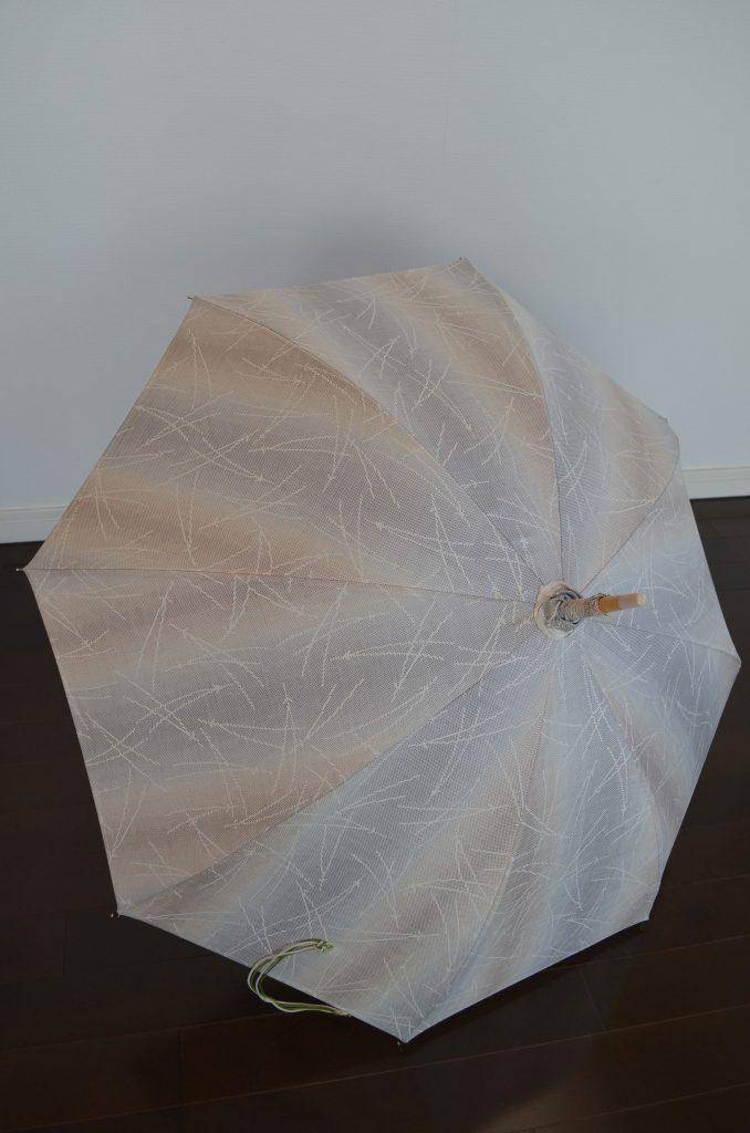 ◆大島紬◆生成り地に松葉模様のレトロ日傘 田中晶子作