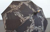 アンティーク大島紬の日傘 田中晶子作 麻の日傘(袋付) 黒×シルバー
