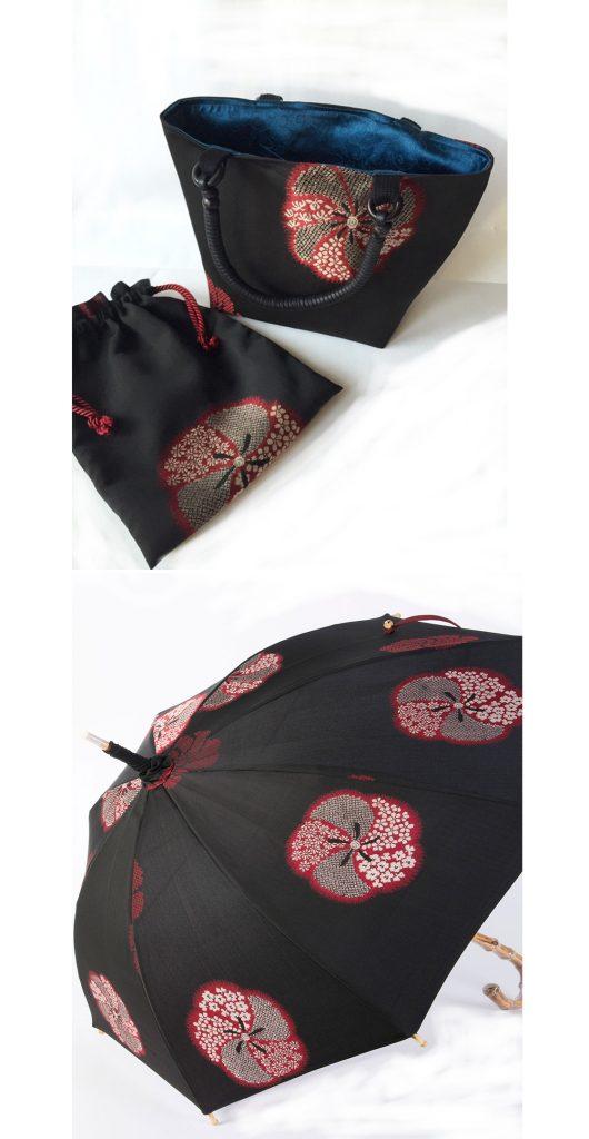 日傘とお揃いが粋な「縫い取りお召し」のバッグ&巾着