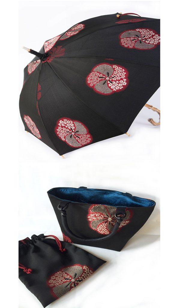 「縫い取りお召し」のアンティーク創作日傘・お揃いバッグ・巾着 住川有子と田中晶子の豪華コラボ
