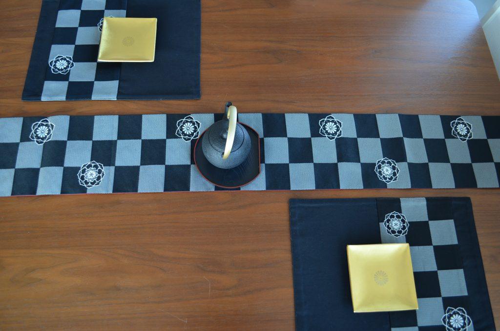 市松×華紋(かもん)柄 人気のリバーシブルテーブルランナー・ランチョンマット3点セット