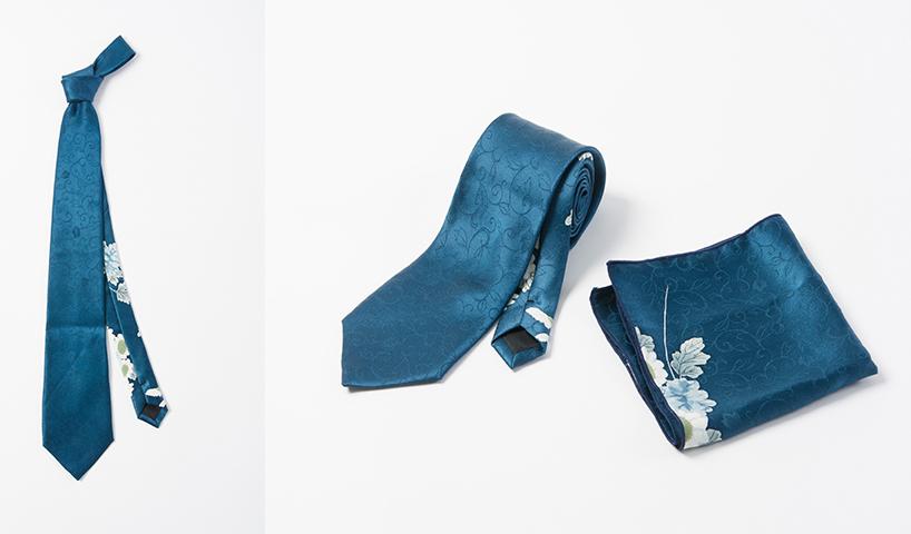 世界に1つの正絹ネクタイ&チーフセット(アンティーク着物地・使用)(オーダー)