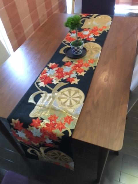 アンティーク帯リメイク テーブルランナー