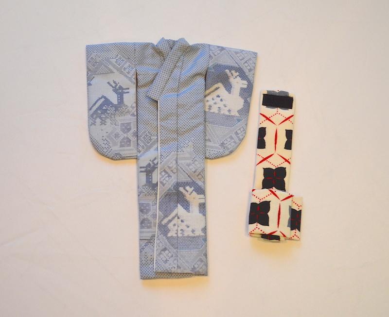 大島紬のミニチュアお着物【午後は公園をお散歩するの】