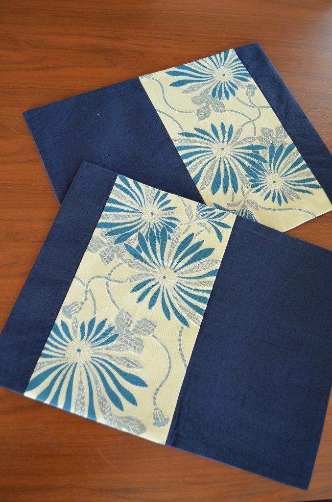 真綿紬帯【夏の夜空を彩る花火を思わせる藍色ランチョンマット】真綿紬地の袋帯×半幅帯