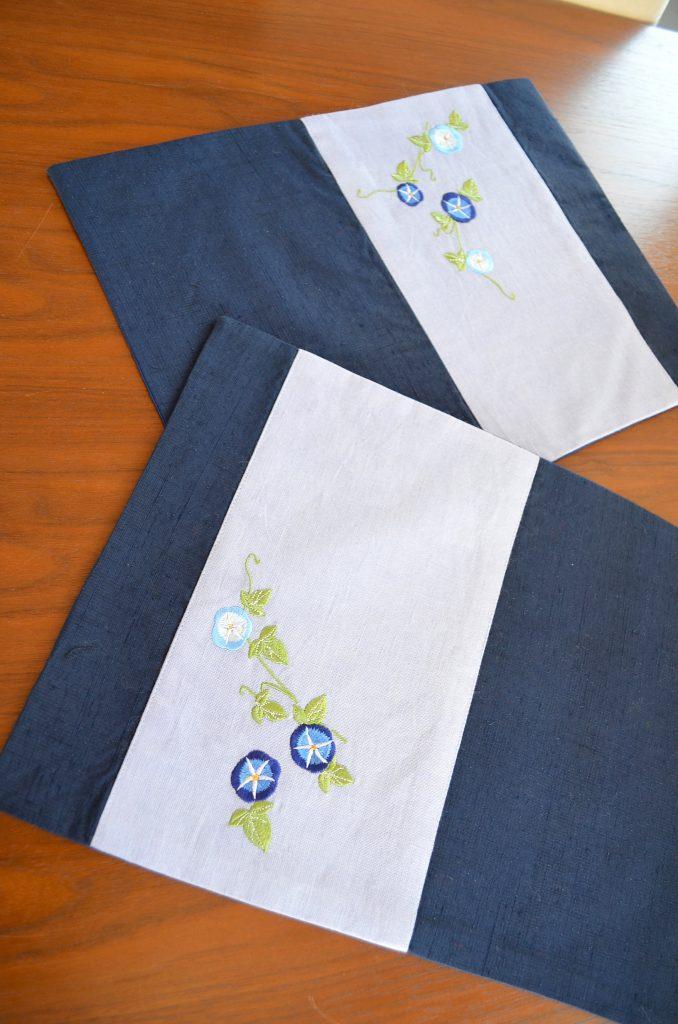 真綿紬地帯【朝顔が涼しげな藍色ランチョンマット】真綿紬地の袋帯×半幅帯